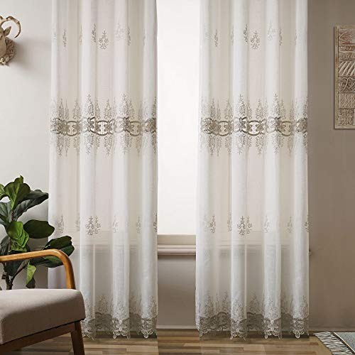 Viste tu hogar Pack 4 Cortina Decorativa con Diseño Bordado Semi Translucida, Estilo Simple y Elegante, para Salón, Habitación y Dormitorio, 4 Piezas, 145X260 CM, Estampado con Color Beige