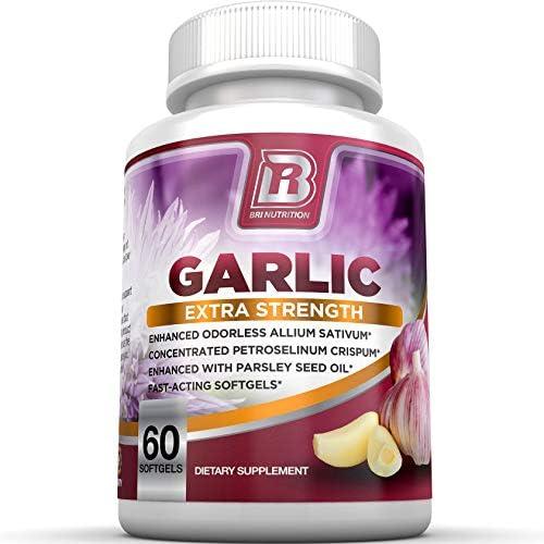 BRI Nutrition Odorless Garlic - 120 Softgels - 1000mg Pure and Potent Garlic Allium Sativum Supplement (Maximum Strength) - 60 Day Supply