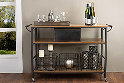 Baxton Studio Lancashire Wood and Metal Kitchen Cart, Brown from Wholesale Interiors