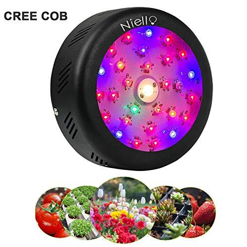 Niello Cree COB Pflanzenlampe 150W UFO Led Grow Light Vollspektrums Pflanzen Licht mit Schalter UV & IR für Innenanlagen, Hydrokultur, Gewächshaus, Sukkulenten, Blumen, Setzlinge Ziehen und so weiter