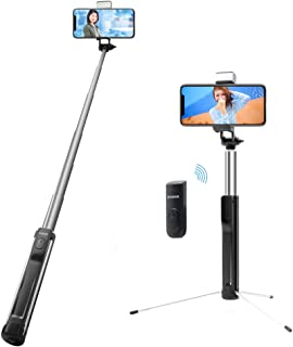 自撮り棒 Sonkir Bluetooth 無線 セルカ棒 三段階調光可能補助ライト 軽量 三脚・一脚兼用 スマホ自撮り 360度自由回転 リモコン遠隔操作 伸縮自在 一体型畳み式 多機能スマホスタンド iPhone/Android対応 (黒い)