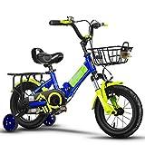 Vélos enfants et Accessoires Vélos pour Enfants Folding Boy Stroller Girl Pédale Vélo De Voyage Extérieur Vélo Pliant Réglable Hauteur Shock Absorber Vélo (Color : Blue, Size : 18inches)