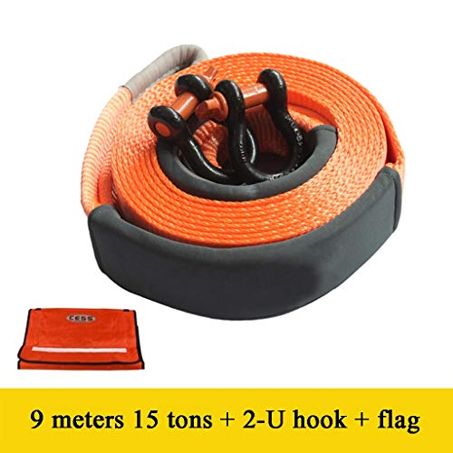 Best Buy! 9 Meters Towing Rope with 2 Hooks - 15 Ton Towing Capacity - Perfect for Pulling A Car Tru...