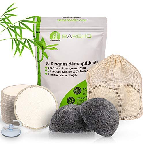 Waschbare Bambus-Abschminkpads [16 Stück] + 2 Konjac-Peeling-Schwämme für die Reinigung und zur Vorbeugung von Mitessern und Akne