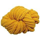 Mustard Chunky Knit Chenille Yarn,Jumbo Chenille Yarn,Arm Knit Yarn Arm Knitted Chenille Yarn,DIY Crochet Rug/Blanket/Hat,250g