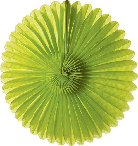 Luna Bazaar Hanging Paper Fan (14-Inch, Chartreuse Green) - Rice Paper Honeycomb Decorations - For Home Decor, Parties, and Weddings