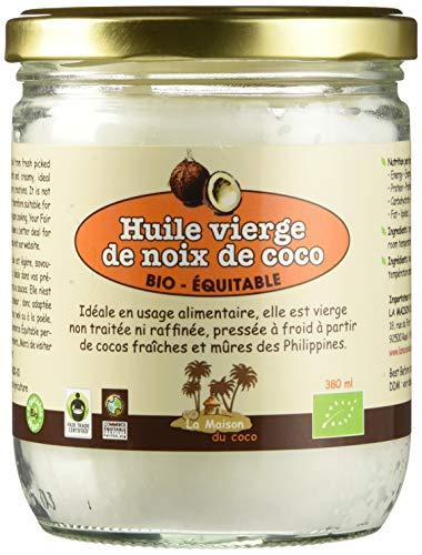 LA MAISON DU COCO - Huile Vierge de Noix de Coco bio & équitable 380 ml - Philippines - Pressée à froid