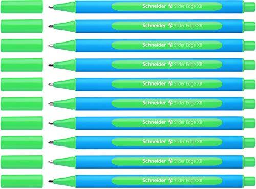 Schneider Slider Edge XB Kugelschreiber (Strichstärke: XB, dokumentenecht, Dreikant-Stift) 10er Packung grün