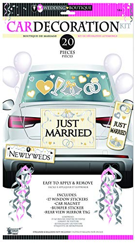 Forum Novelties x79804 Bride & Groom Car Decoration Kit, Multi-Colour