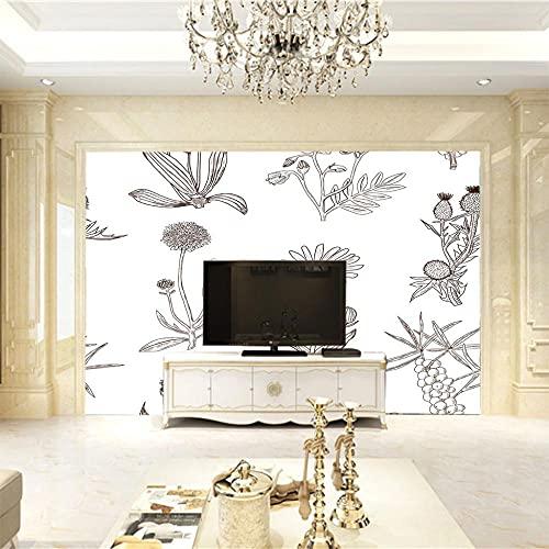 MHJAIE Fondo De Pantalla De Pared Moda Representación Flores 200X100Cm Extraíble Vinilo Pared Arte Papel Tapiz Mural Decoración Del Hogar Para Sala De Estar