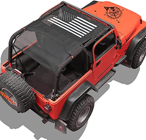TOAPCAYR Bikini Top Sunshade Mesh Sun Shade Cover Soft Top Front Rear UV Protection Accessories for Jeep Wrangler TJ (1997-2006) YJ in Black & White American Flag Super Easy to Install