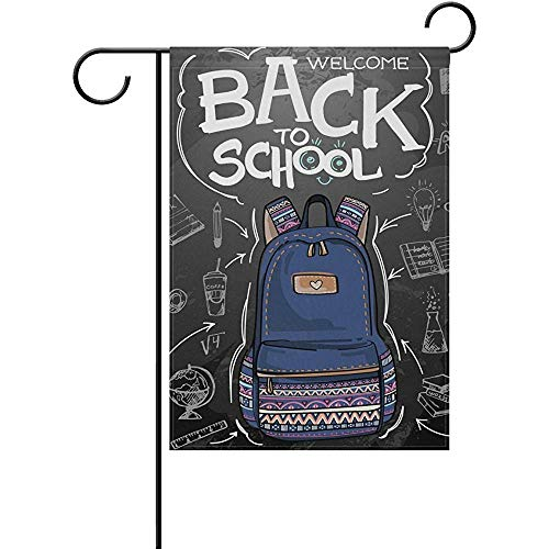 Yunnstrou Back to School Black Board Backpack Garden Flag Double Sided Garden Flag Best for Party Yard and Home Outdoor Decor - 12x18 inches
