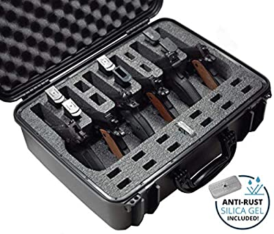 Case Club Waterproof 6 Pistol Case with Silica Gel to Help Prevent Gun Rust