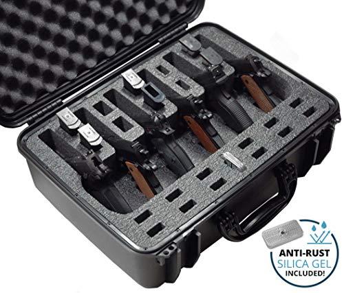 Case Club Waterproof 6 Pistol Pre-Cut Case with Silica Gel to Help Prevent Gun Rust