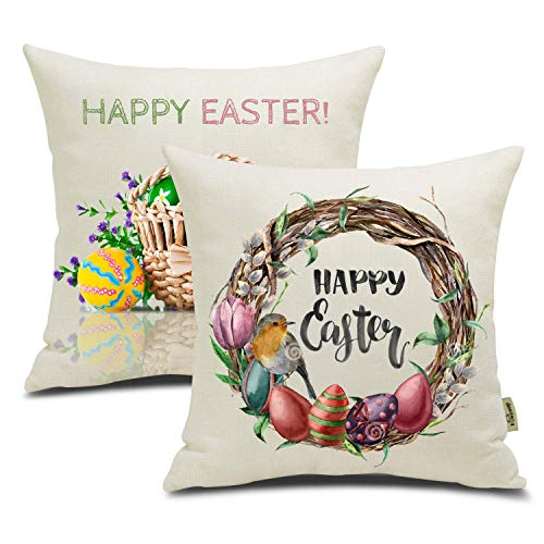 FOOZOUP Easter Colorful Egg Throw Pillow Case Cushion Cover Spring Decor for Sofa Couch 18 x 18 Inch