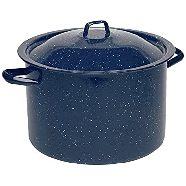 IMUSA USA C20666-10646W Enamel Stock Pot, 12-Quart, Blue