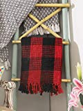 Throw Blanket With Fringes in Buffalo Plaid Design 50x60 Inch -Red Black, Cotton Throw For Sofa, Chair, Bed, & Everyday Use, Well crafted for durability, Farmhouse Throw,All Season Throw Blanket