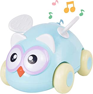 PBOX Electric Owl Car Toy,Push and Go Friction Powered Toy Cars,Music & Light Cute Cartoon Vehicles Gift for 3 4 5 6 Years Old Kids Boys Girls