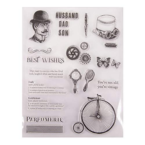 Husband Dad Son Eulogy Best Wishes Clear Rubber Stamps for Card Making Scrapbooking DIY Vintage Rubber Stamps