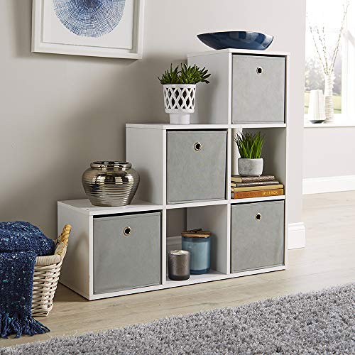 Home Source Step Style Storage Cube 6 Shelf Bookcase Wooden Display Staircase Unit White
