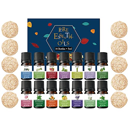 NeeXiu Essential Oils Top 8 Gift Set Pure Essential Oils for Diffuser, Humidifier, Massage, Aromatherapy, Skin & Hair Care