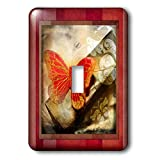 3dRose lsp_34073_1 Grunge Red Butterfly Toggle Switch, Multi-Color