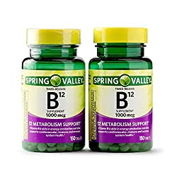 commercial Spring Valley Vitamin B12 Sustained Release Tablets, 1000 µg, 150 Pieces (Pack of 2 Pieces, Total 300 Pieces) spring valley vitamin
