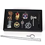 Uiipx Avengers 4 Necklace Final Battle Raytheon Unlimited Gloves Captain America Shield Keychain A Sign Pendant, Alloy Set 9pcs,Silver