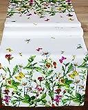[page_title]-Kamaca Serie WIESENBLUMEN UND Schmetterlinge hochwertiges Druck-Motiv mit Blumen EIN Eyecatcher in Frühling Sommer (Tischläufer 40x140)
