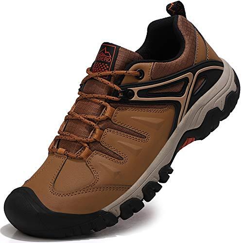 ASTERO Wanderschuhe Herren Trekkingschuhe Low Wanderhalbschuhe rutschfeste Schuhe Männer Outdoor Leichte Hiking Schnüren Wanderstiefel Größe 41-46 (BRAUN, Numeric_44)