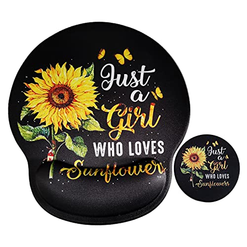 Ergonomic Mouse Pad with Wrist Support No-Slip Gel Black Mouse Mat Pads with Sunflower for Girl Cute Gaming Computer Mousepads Desk Accessories for Women Men