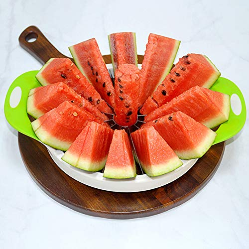 Jiecikou Watermelon Slicer Large Stainless Steel Fruit Cutter Melon Slicer Peeler Corer Server for Home S