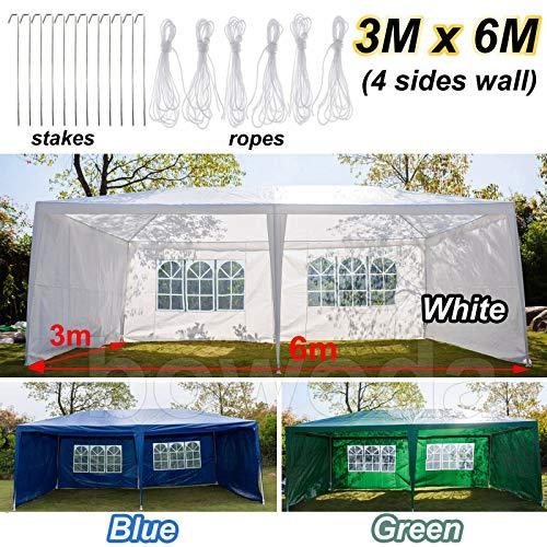 Xinng Grote 3x6m Waterdichte Gazebo Marquee Luifel Patio Tuin Bruiloft Feesttent voor Buiten met 4 Zijkanten Panelen Zware Duty Frame Blauw/Groen/Wit 3x6M with 4 Sides Blauw