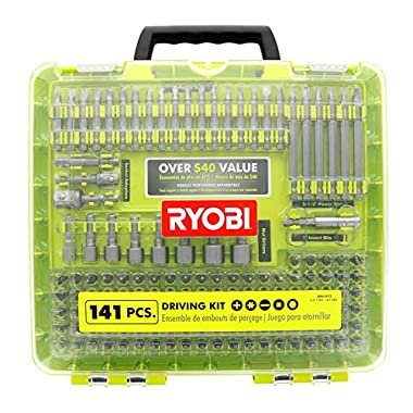Ryobi A961412 141 Piece Driving Set with Carrying Case, Nut Drivers, and Socket Adaptors