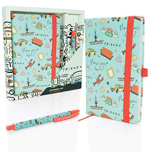 Amigos - Juego de cuadernos y bolígrafos de papelería premium para niñas, niños y adultos, producto oficial de la serie de televisión