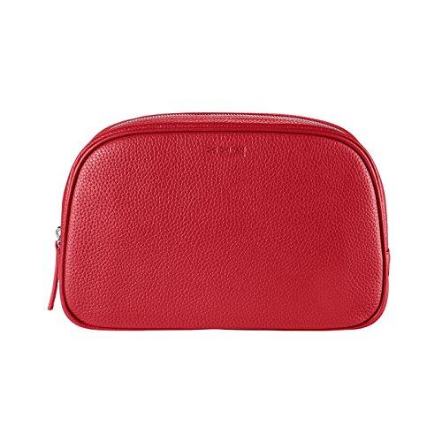 CHI CHI FAN Travel Bag – Rot | große Damen und Herren Kulturtasche aus echtem Leder | Top Qualität und Design treffen auf maximale Funktion | Viel Stauraum für Ihre Kosmetikartikel
