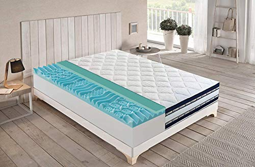 Double Memory Gel Mattress 6.5 cm Refreshing 9 Different Zones 25 cm High with Orthopaedic Memory Gel Medical Presidium Certified with DETRACTION (160x190)