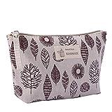 Bolsa de maquillaje grande, de lona, monedero, organizador, bolsa de cosméticos, multifuncional, hecha a mano, bolsa de tela para mujeres, diseño de hoja