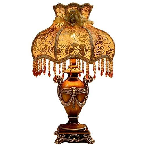 Lámpara de Mesa Shabby Chic Francés Vintage Tela Alta Pantalla de Resina Grande Iluminación de cabecera Luz de Escritorio de Metal Industrial Pantalla Tradicional Sala de Estar Dor