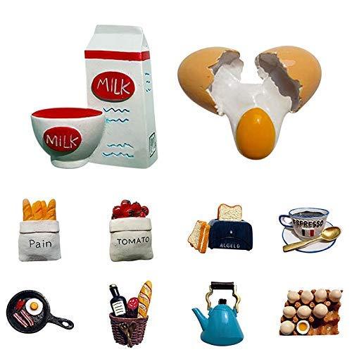 AMYZ Imanes de Nevera,1 Pieza,calcomanía de Resina para el hogar,imanes creativos para Nevera,Bonito Molde de Comida,Pan magnético,Leche,Tocino,Espejo,sartén