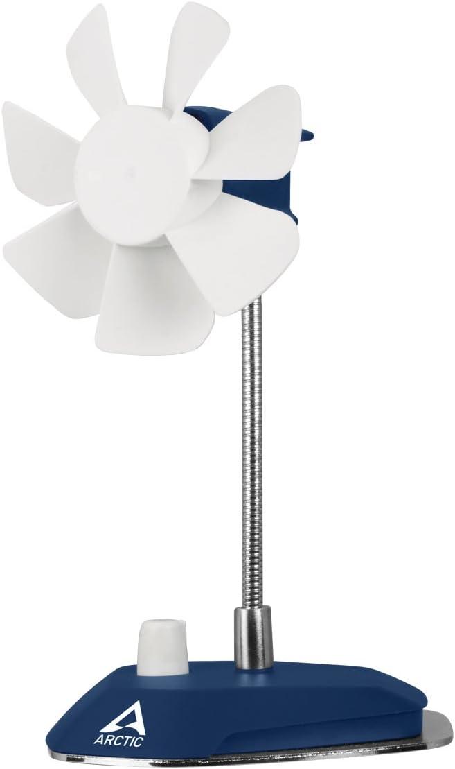 ARCTIC Breeze - USB Desktop Fan with Flexible Neck and Adjustable Fan Speed, Portable Desk Fan for Home, Office, Silent USB Fan, Fan Speed 800–1800 RPM - Deep blue