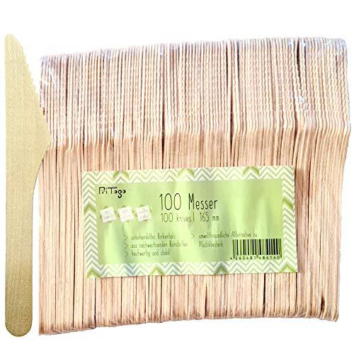 Pritogo 100 Holzmesser/Einwegmesser aus Birkenholz - 100% natürlich, umweltfreundlich und stabil, ca. 16,5 cm lang (100 Stück)