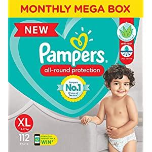 Pampers All round Protection Pants, Extra Large size baby diapers (XL) 112 Count, Anti Rash diapers, Lotion with Aloe… 7 51ki8BsdibL. SS300