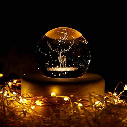 Elk Bola de Cristal con Base de Madera, K9 Bola de Cristal para Fotografía Bola de Navidad Luminosa se Utiliza para Cumpleaños, Regalos de San Valentín, Decoración del Hogar