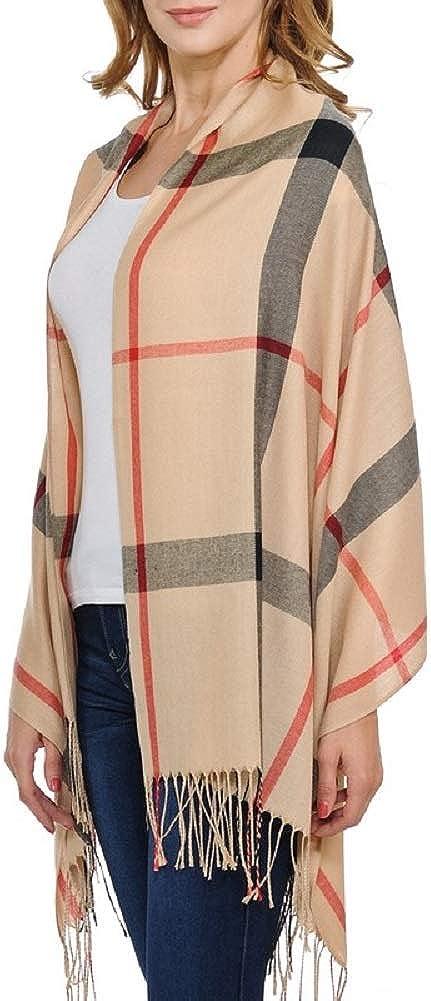 Fashion Secrets Classic Plaid Softness Oblong Scarf Wrap Shawl With Fray Trimming