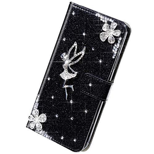Herbests Kompatibel mit Samsung Galaxy Note 10 Hülle Leder Handyhülle Mädchen Diamant Bling Strass Glitzer Blumen Handytasche Flip Case Brieftasche Klapphülle Schutzhülle Magnet,Schwarz