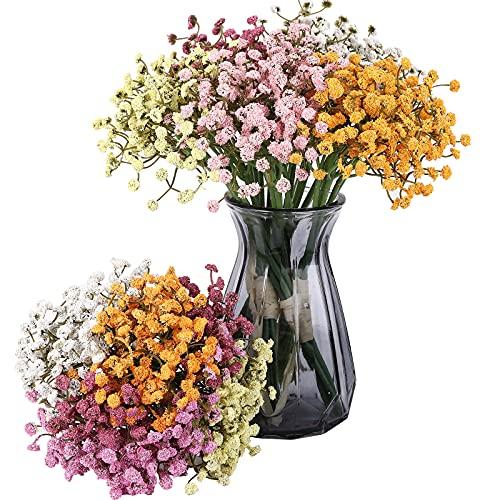 20 Piezas Flores de Gypsophila Artificiales de Aliento de Bebé Ramos de Flores Falsas Multicolores Planta Falsa de Espuma Flores de Toque Real para Fiesta de Bodas Decoración de Hogar DIY