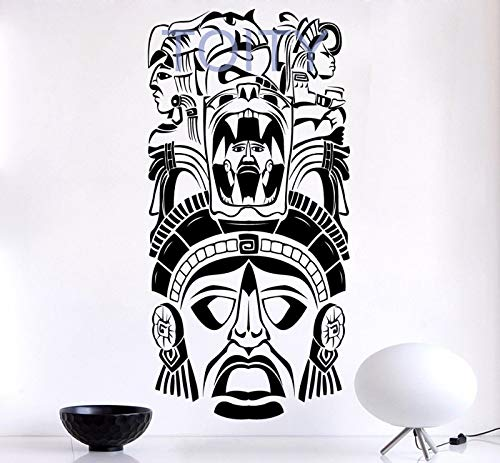 guijiumai Alte Zeremonie Maske Maya Wand Vinyl Aufkleber Stamm Muster Aufkleber Home Interior Hearted Decor Wandbild 103X56CM