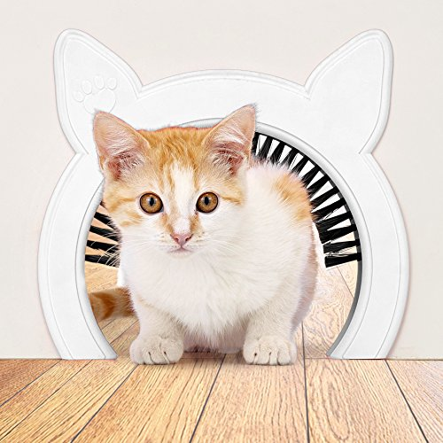 PAWSM Cat Door for Interior Door, Pet Doors for Cats, Cat Door Hides Litter Tray, Cat Door with Brush, Fits Cats Up to 20lbs, Indoor Cat Door