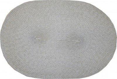 Raumtraum-Dekoshop Tischset hellgrau oval geflochten Platzset Platzmatte